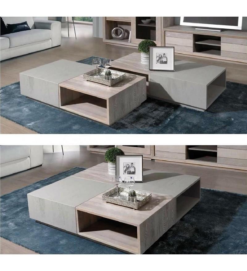 table salon carr e rectangulaire modulable. Black Bedroom Furniture Sets. Home Design Ideas