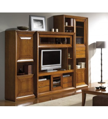 biblioth que meuble tv merisier. Black Bedroom Furniture Sets. Home Design Ideas