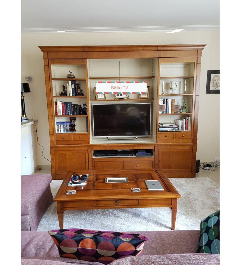 biblioth que et meuble t l vision en merisier massif. Black Bedroom Furniture Sets. Home Design Ideas