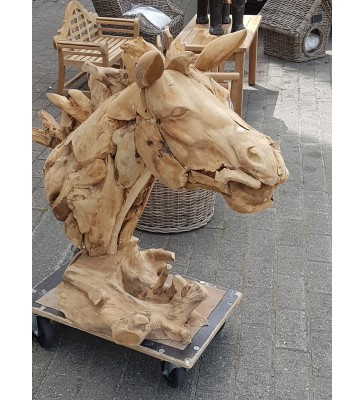 D co de jardin en teck t te de cheval en bois - Deco de jardin en bois ...